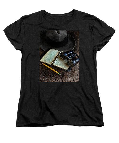 Binoculars Fedora And Notebook Women's T-Shirt (Standard Cut) by Jill Battaglia