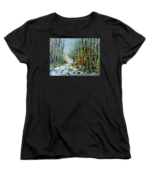 Birches Near Waterfall Women's T-Shirt (Standard Cut)