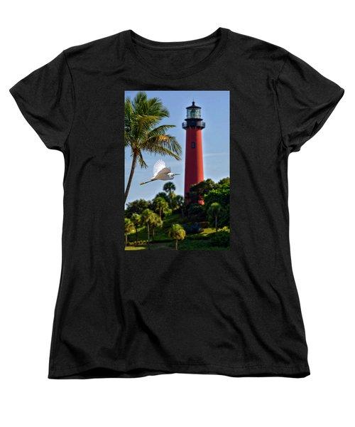 Bird In Flight Under Jupiter Lighthouse, Florida Women's T-Shirt (Standard Cut) by Justin Kelefas