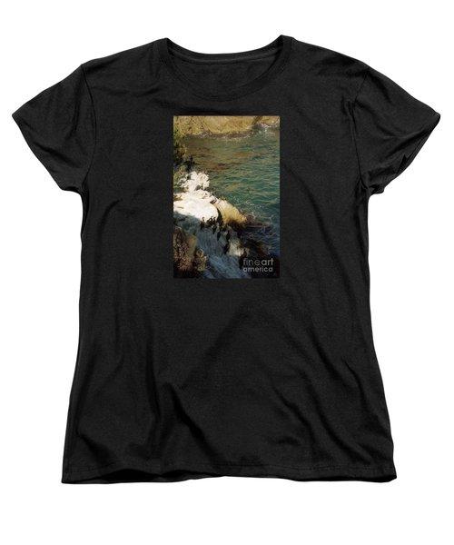 Birds On Rock Above Pacific Ocean Women's T-Shirt (Standard Cut) by Ted Pollard