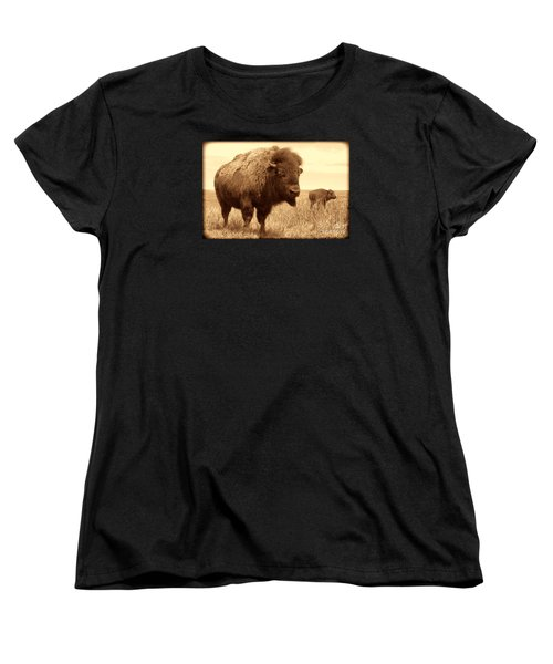 Bison And Calf Women's T-Shirt (Standard Cut) by American West Legend By Olivier Le Queinec