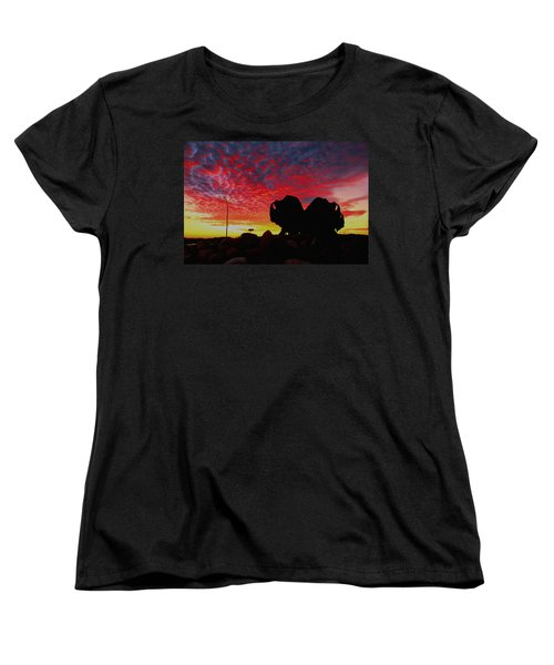 Women's T-Shirt (Standard Cut) featuring the photograph Bison Sunset by Larry Trupp