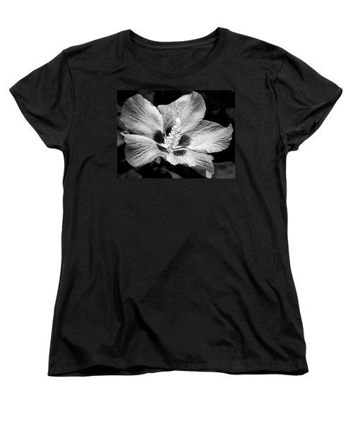 Black And White Hibiscus  Women's T-Shirt (Standard Cut) by Karen Stahlros