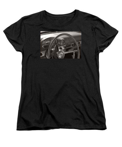 Black And White Thunderbird Steering Wheel  Women's T-Shirt (Standard Cut) by Heather Kirk