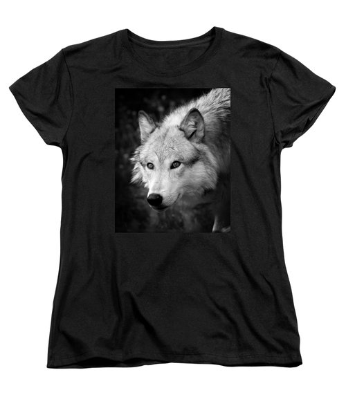 Black And White Wolf Women's T-Shirt (Standard Cut) by Steve McKinzie