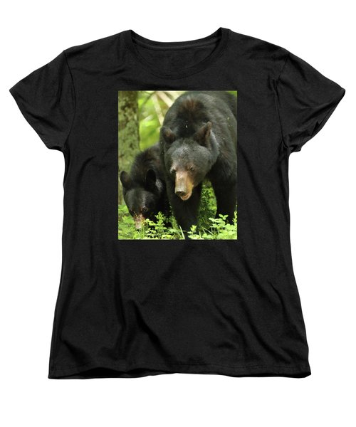 Black Bear And Cub On Ground Women's T-Shirt (Standard Cut)