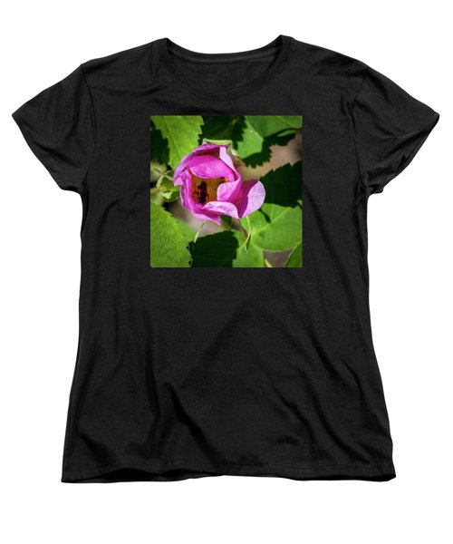 Women's T-Shirt (Standard Cut) featuring the photograph Black Bee Collecting Pollen by Darcy Michaelchuk