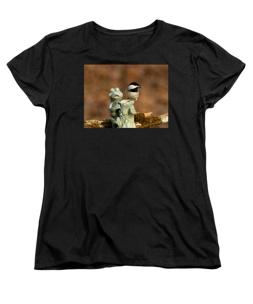 Black-capped Chickadee And Frog Women's T-Shirt (Standard Cut) by Sheila Brown