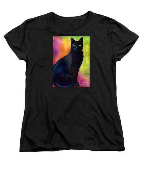 Black Cat 9 Watercolor Painting Women's T-Shirt (Standard Cut) by Svetlana Novikova