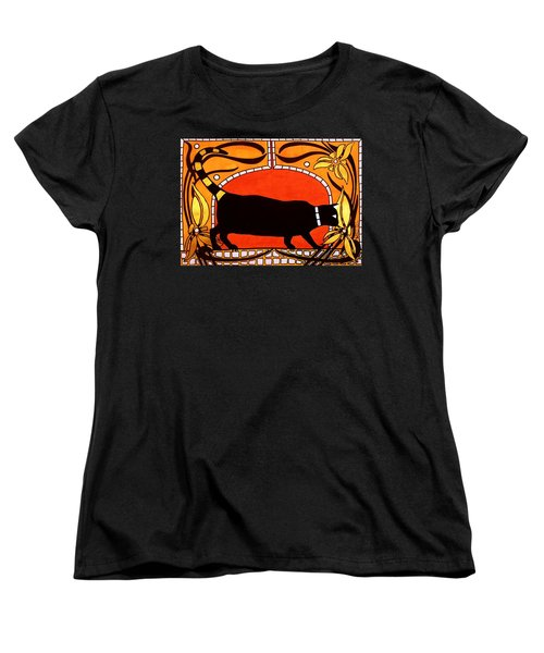 Black Cat With Floral Motif Of Art Nouveau By Dora Hathazi Mendes Women's T-Shirt (Standard Cut)