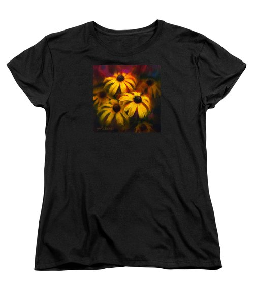 Women's T-Shirt (Standard Cut) featuring the painting Black Eyed Susans - Vibrant Flowers by Karen Whitworth