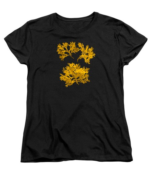 Women's T-Shirt (Standard Cut) featuring the mixed media Black Gold Leaf Pattern by Christina Rollo