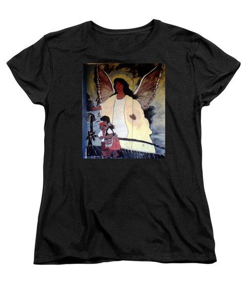 Black Guardian Angel Mural Women's T-Shirt (Standard Cut)