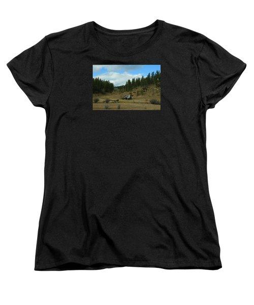 Black Hills Broken Down Cabin Women's T-Shirt (Standard Cut) by Christopher Kirby