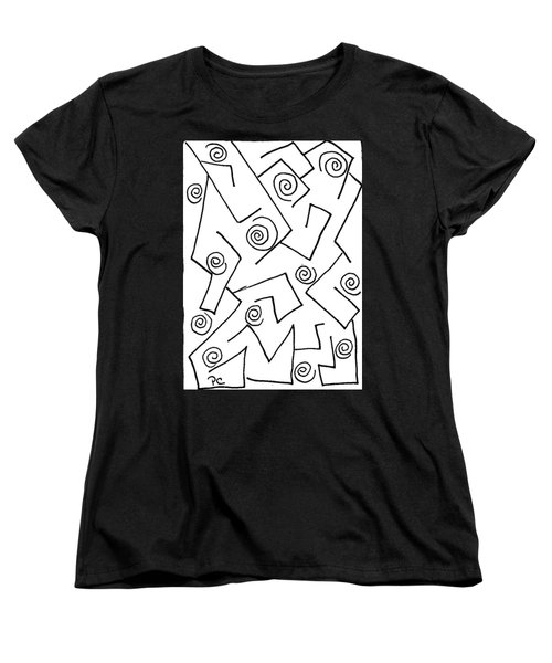 Black Ink Abstract Women's T-Shirt (Standard Cut) by Patricia Cleasby
