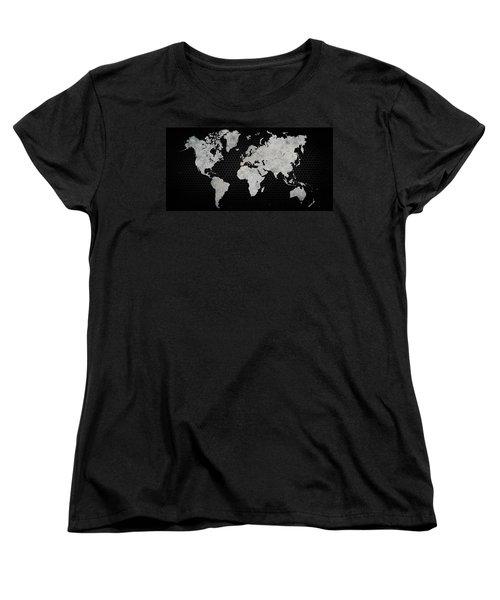 Women's T-Shirt (Standard Cut) featuring the digital art Black Metal Industrial World Map by Douglas Pittman