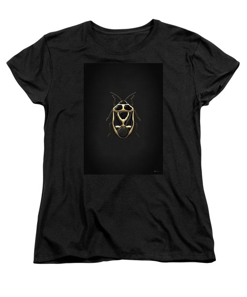 Black Shieldbug With Gold Accents  Women's T-Shirt (Standard Cut) by Serge Averbukh