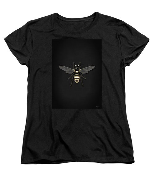 Black Wasp With Gold Accents On Black  Women's T-Shirt (Standard Cut) by Serge Averbukh