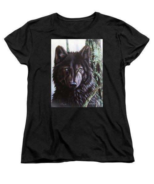 Black Wolf Women's T-Shirt (Standard Cut) by Sandi Baker