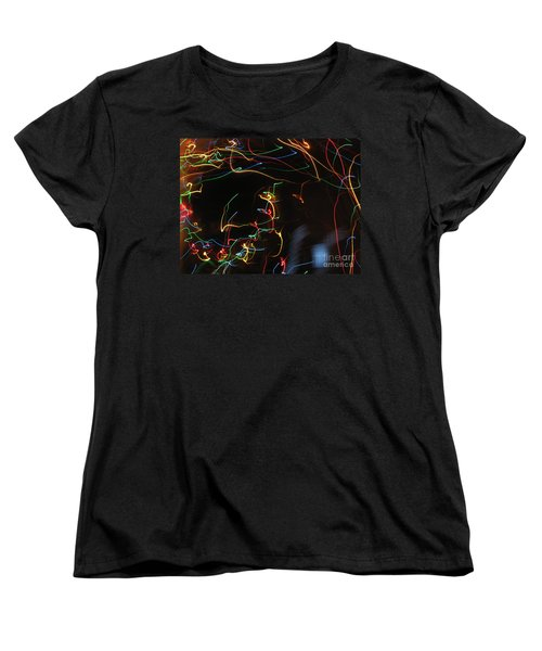 Women's T-Shirt (Standard Cut) featuring the photograph Blizzard Of Colorful Lights. Dancing Lights Series by Ausra Huntington nee Paulauskaite