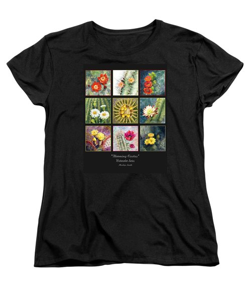 Women's T-Shirt (Standard Cut) featuring the painting Blooming Cactus by Marilyn Smith