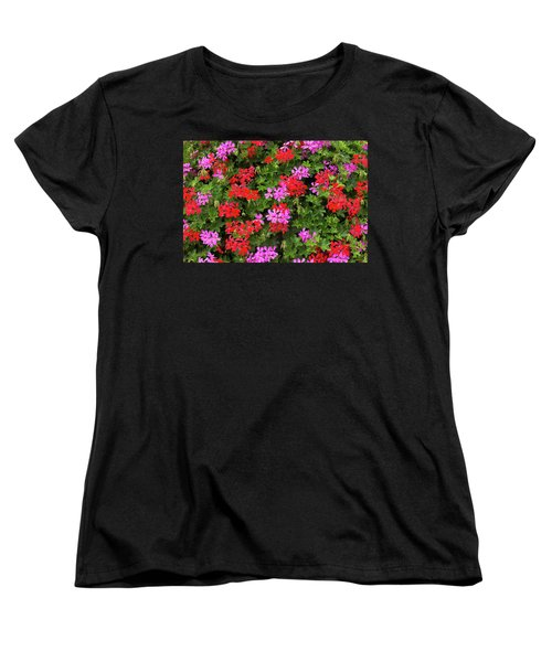 Blooming Flowers Background Women's T-Shirt (Standard Cut) by Hans Engbers