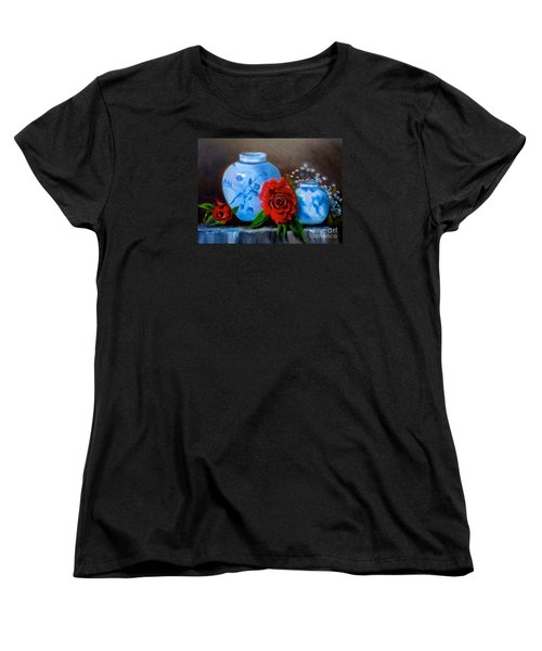 Women's T-Shirt (Standard Cut) featuring the painting Blue And White Pottery And Red Roses by Jenny Lee