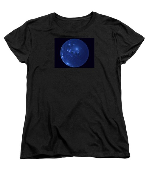 Blue Big Sphere With Squares Women's T-Shirt (Standard Cut) by Ernst Dittmar