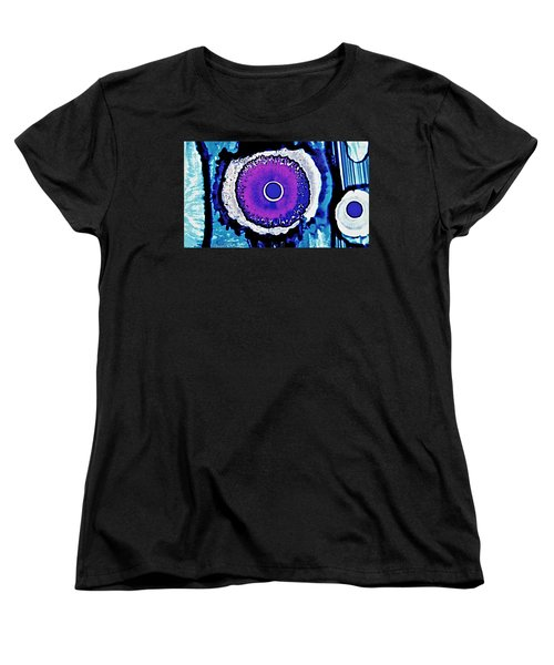 Women's T-Shirt (Standard Cut) featuring the painting Blue Black Purple Nucleus Abstract #2 Alcohol Inks  by Danielle  Parent