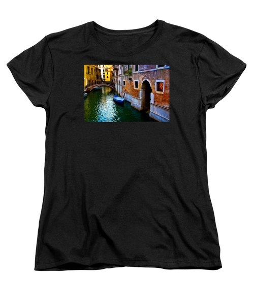 Blue Boat At Twilight Women's T-Shirt (Standard Cut) by Harry Spitz