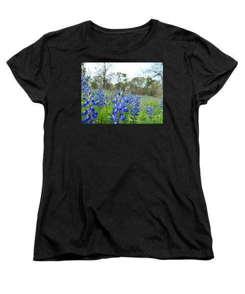 Blue Bonnet Explosion II Women's T-Shirt (Standard Cut) by Carolina Liechtenstein