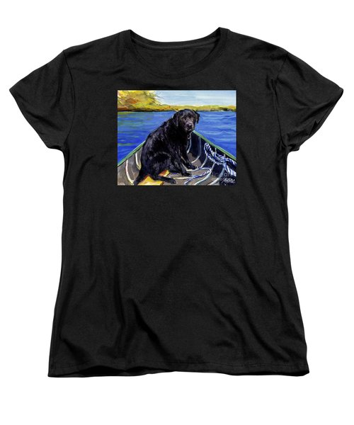 Women's T-Shirt (Standard Cut) featuring the painting Blue Canoe by Molly Poole