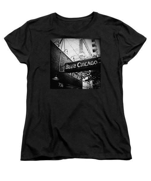 Blue Chicago Nightclub Women's T-Shirt (Standard Cut) by Kyle Hanson