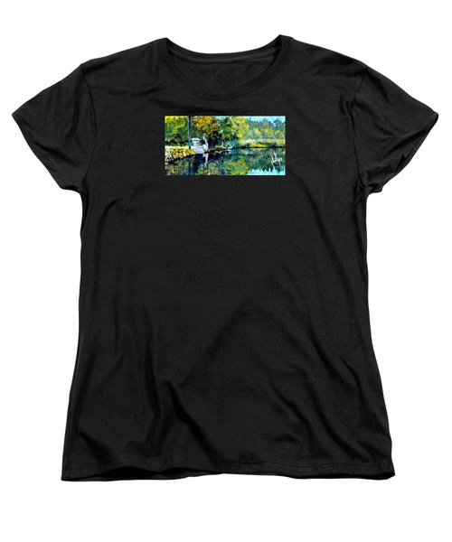 Women's T-Shirt (Standard Cut) featuring the painting Blue Creek Fish Camp by Jim Phillips