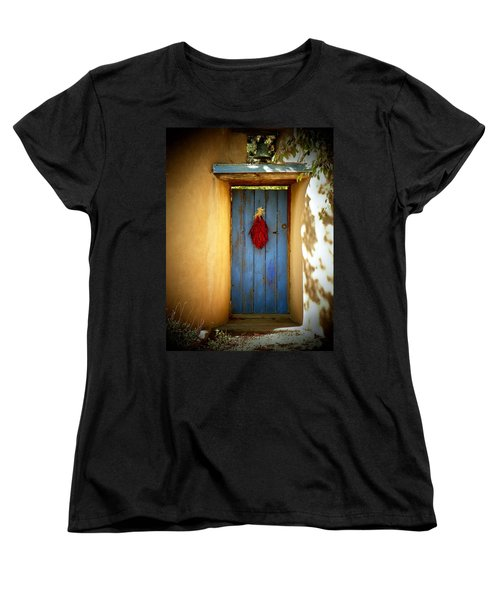 Women's T-Shirt (Standard Cut) featuring the photograph Blue Door With Chiles by Joseph Frank Baraba