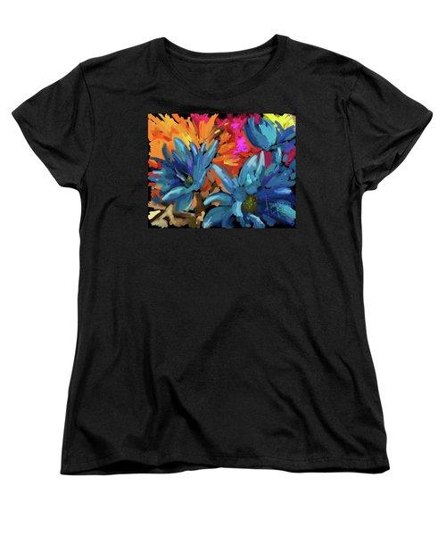 Blue Flowers 2 Women's T-Shirt (Standard Cut) by DC Langer
