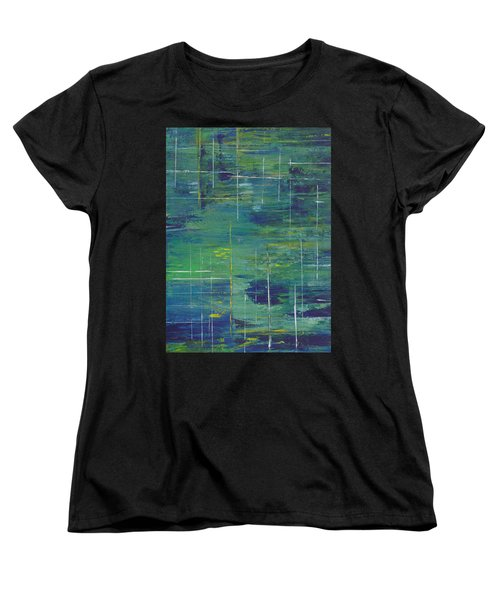 Blue Green Yellow Abstract  Women's T-Shirt (Standard Cut) by Patricia Cleasby