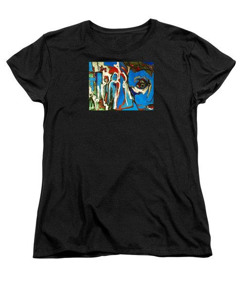 Women's T-Shirt (Standard Cut) featuring the painting Blue by Helen Syron