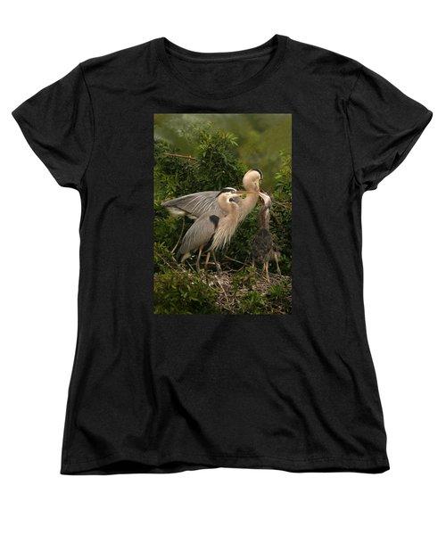 Blue Heron Family Women's T-Shirt (Standard Cut) by Shari Jardina