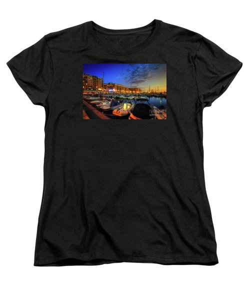 Women's T-Shirt (Standard Cut) featuring the photograph Blue Hour At Port Nice 1.0 by Yhun Suarez