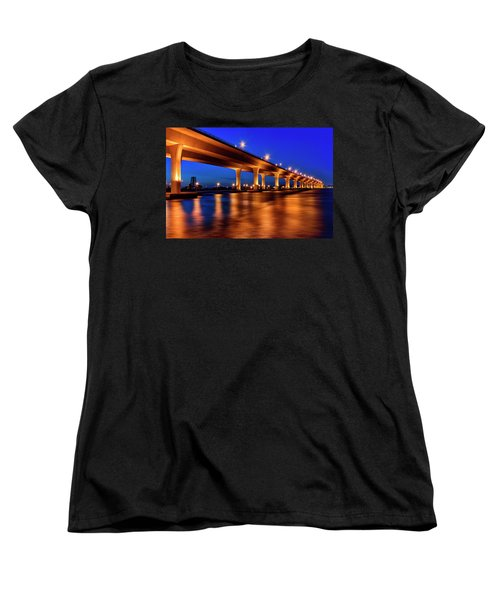 Blue Hour At Roosevelt Bridge In Stuart Florida  Women's T-Shirt (Standard Cut) by Justin Kelefas
