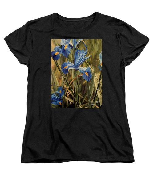 Women's T-Shirt (Standard Cut) featuring the painting Blue Iris by Laurie Rohner
