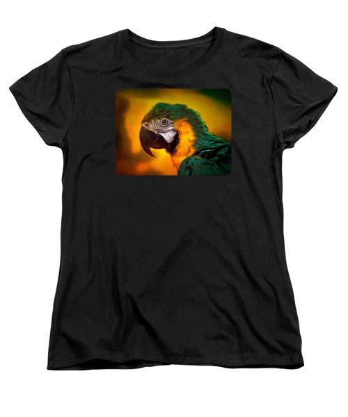 Blue Macaw Parrot Portrait Women's T-Shirt (Standard Cut) by Linda Koelbel