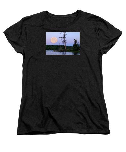 Blue Moon At Sunrise Women's T-Shirt (Standard Cut) by Steven Clipperton