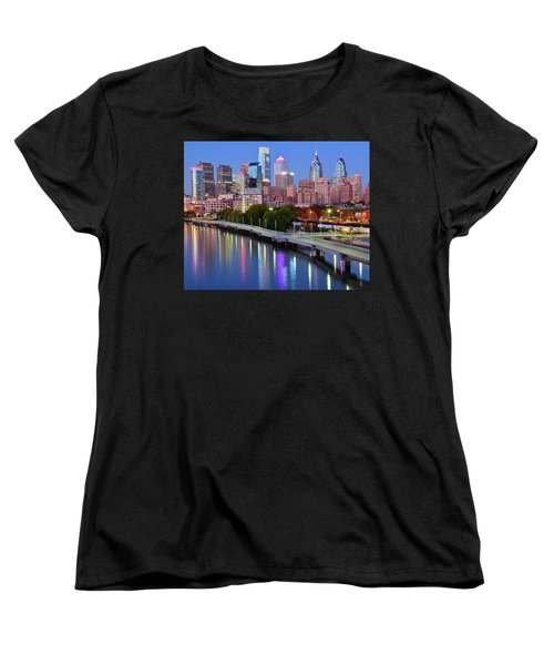 Women's T-Shirt (Standard Cut) featuring the photograph Blue Night Lights In Philly by Frozen in Time Fine Art Photography
