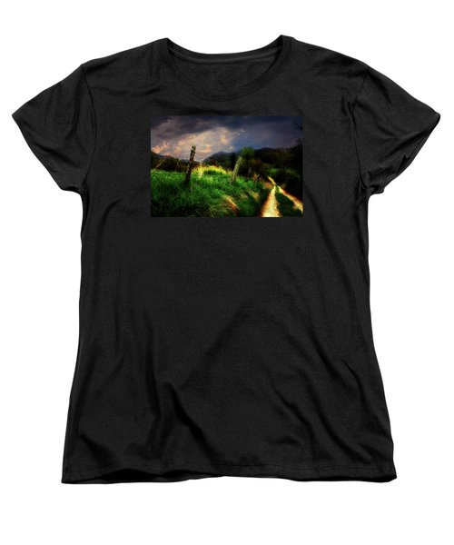 Women's T-Shirt (Standard Cut) featuring the photograph Blue Ridge Mountain Country Road by Gray  Artus