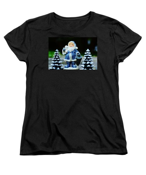 Women's T-Shirt (Standard Cut) featuring the photograph Blue Santa Christmas Card by Bellesouth Studio