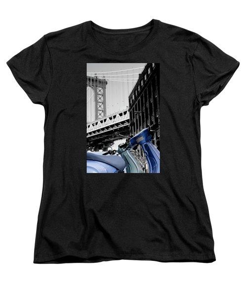 Blue Scooter Women's T-Shirt (Standard Cut) by Silvia Bruno