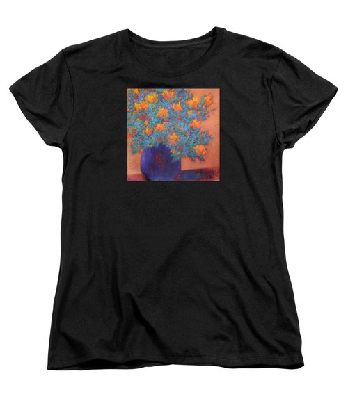 Women's T-Shirt (Standard Cut) featuring the painting Blue Vase by Nancy Jolley
