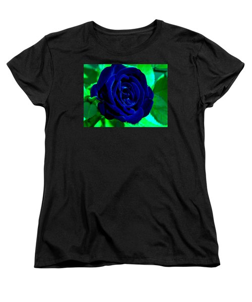 Blue Velvet Rose Women's T-Shirt (Standard Cut) by Samantha Thome